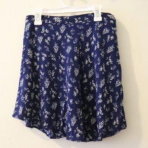 Blue floral circular skirt - Forever 21